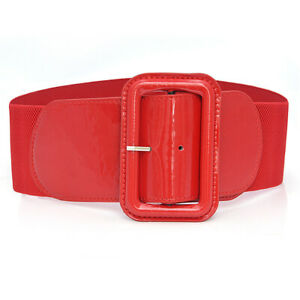 Women Belt Wide Buckle Elastic Stretch Ladies Faux Leather Skinny Waist Dress