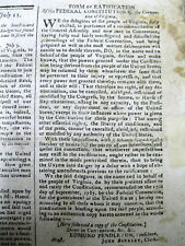 1788 Boston MASSACHUSETTS newspaper VIRGINIA RATIFIES the US CONSTITUTION