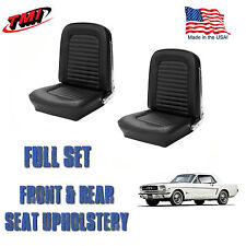 Front and Rear Seat Cover Upholstery Black for 1964-1965 Mustang Coupe
