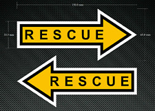 2 x RESCUE Stickers/Decals - 150mm x 65mm Printed & Laminated