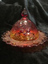 Vintage Amberina Indiana Carnival Glass Butter/Cheese Dish  Cherry