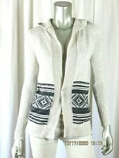 HOLLISTER SZ XS Cotton Blend Linen White/Charcoal Hooded Open Cardigan Sweater