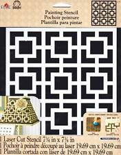 "Plaid Folkart ~SQUARE REVIVAL~ Painting Stencil 7.75"" x 7.75"" DIY Home Decor"