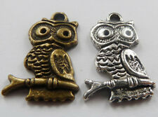 Free Ship 100pcs tibet silver and bronze plated owl charms 22mm