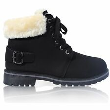 Womens Ladies Lace up Collar Fur Lined Winter Warm Ankle Boot Size 3-8 Black UK 7 EU 40