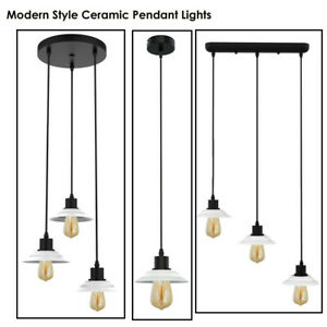 Modern Retro 3 Way Ceiling Pendant Cluster Light Fitting Ceramics Lampshade
