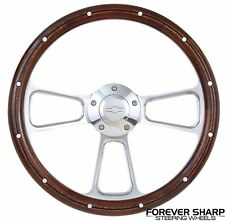 "69-94 Chevy Nova GM 14"" Mahogany Wood Aluminum Rivets Muscle Steering Wheel Set"""
