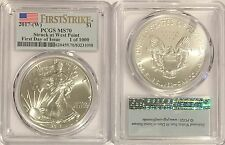 2017 (W) $1 PCGS MS70 SILVER AMERICAN EAGLE FLAG FIRST DAY OF ISSUE 1 OF 1000