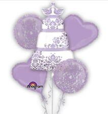 PURPLE WEDDING CAKE Foil  Anagram Balloon Bouquet 5 Balloons