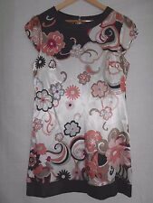 BNWT - NEW WITH TAGS - JANE NORMAN - Ivory / Black / Peach / Taupe Dress - s: 14