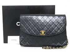 rk5111 Auth CHANEL Black Quilted Lambskin Leather Turn Lock Chain Shoulder Bag