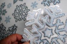 21 Silver Edge Snowflake Window Cling Sticker Reusable Christmas Shop Decor XAMS