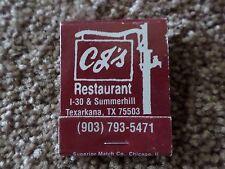 CJ's Restaurant Texarkana Texas Vintage Matchbook Full Unstruck Book