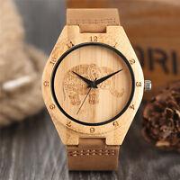 Handmade Elephant Bamboo Genuine Leather Band Women Men Sport Wrist Watch Gift