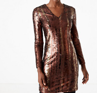 M&S (UK Size 16) Bronze & Gold Sequin Shift Party Dress - New with Tags RRP £69