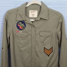 Arizona Jeans Womens SMall Olive Green Long Sleeve Military Button Front Top