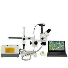 Omax 3.5X-90X 720p WiFi Zoom Boom Stereo Trinocular Microscope+150W Fiber Light