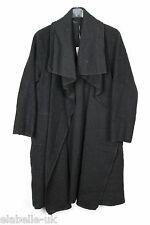 Ladies Boiled Wool Mix Long Waterfall Felt Duster Jacket Coat Plus Size 16-24