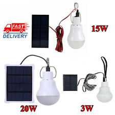 3/15/20W Solar Panel Powered LED Bulb Lights Outdoor Portable Tent Camping Lamp