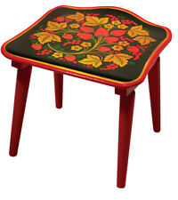 Wooden Khokhloma Stool for Kids Playroom Bedroom. Hohloma Russian Style Patterns