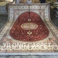 Yilong 10'x14' Classic Hand Knotted Silk Carpets Large handmade Area Rugs W170C