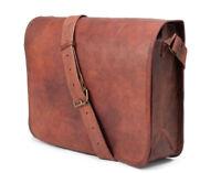 Vintage Leather Messenger Bag iPad/Tab Handbag Purse Crossbody Bags Small 11 In