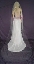 "Wedding Veil Bridal Sheer Soft Cathedral 54"" Width 105"" Length Cut Edge USA MADE"