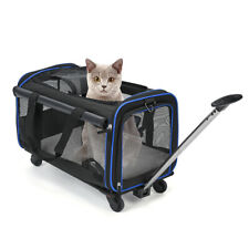 Removable Wheeled Pet Dog Carrier For Small Cat Blue Travel Bag