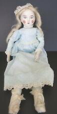 "Vintage 17"" Porcelain & Cloth Art Doll W/ Blue Dress"