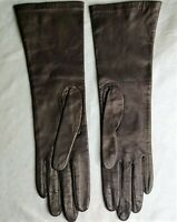 VINTAGE LONG SILK LINED KIDSKIN LEATHER GLOVES FROM CHRISTIAN DIOR! SZ 6 11.5""