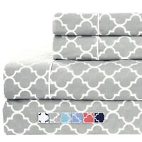 Brushed Percale Cotton Sheets 100% Cotton Printed Deep Pocket Bed Sheet Sets