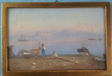 Vedute guazzo dipinto Golfo di Napoli tipo V Carelli COPPOLA GIANNI Napoli ~ 1874