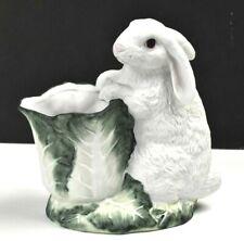 "Tailored Tiles White Bisque Bunny Rabbit & Cabbage VASE Redwood City CA 7"""