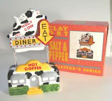 HOLY COW DINER Salt and Pepper Flying Winged Cow EAT Arrow Sign Clay Art '94 MIB