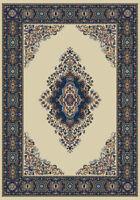 cream TRADITIONAL classic ORIENTAL carpet Persien medallion BORDER area RUG