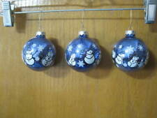 Rauch Glass Christmas Ornaments Blue Snowman Set of 3