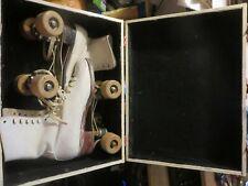 vintage women's Chicago Roller Skate Co White skates patented 1914
