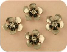 2 Hole Beads Flowers Clear Swarovski Crystal Element Crown Centers Silver QTY 4