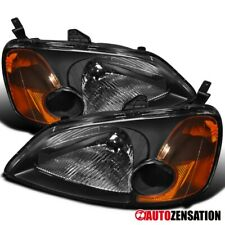 For 2001-2003 Honda Civic 2/4Dr Black Headlights Lamps Left+Right Pair
