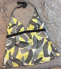 Womens Size 14 Nike Swim Tankini Top Swimsuit Bathing Suit Black Yellow Grey EUC