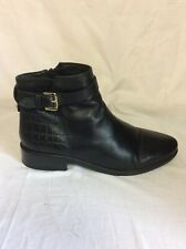 LADIES DUNE BLACK LEATHER ANKLE BOOTS SIZE 39 Uk 6