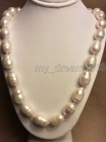 """BEAUTIFUL 10-12MM SOUTH SEA BAROQUE RICE WHITE PEARL NECKLACE 18"""" AAA"""