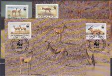 v1836 WWF 1993/ Gazellen/ Burkina Faso  MiNr 1298/1301 auf 4 MaxiCard
