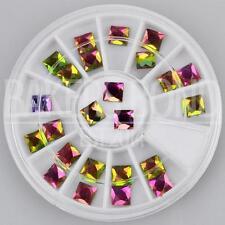 24pc Rhinestone 3D Nail Art Fashion Diamante Glitter Gem Pearlescent Squares