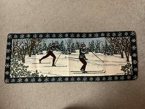 """Vintage Tapestry """"Skiers Lodge"""" Table Runner--New with Tag--Cross Country Skiers"""
