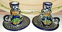Candle Holders Vintage Mexico Talavera Latin American Pottery Signed - A pair