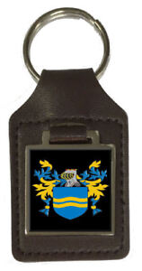 Mclachlan Family Crest Surname Coat Of Arms Brown Leather Keyring Engraved