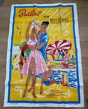 More details for vintage butlin's for holidays holiday camp retro 1960's linen tea towel