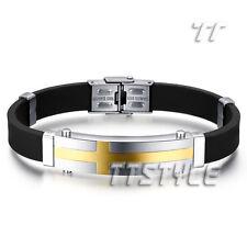 Quality TTstyle 14K Gold GP Stainless Steel Cross ID Bracelet Engravable
