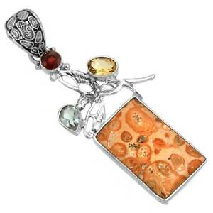 Solid 925 Sterling Silver Stylish Pendant Natural Mookaite Coral Jasper IA88442